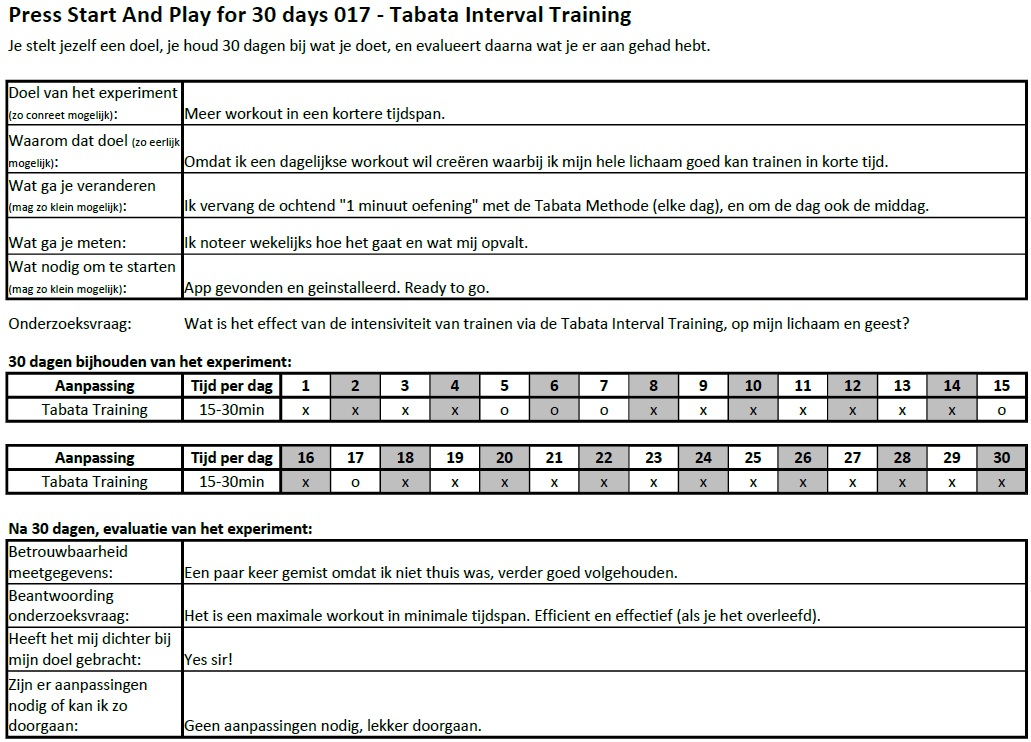 PSAP for 30 days 017 - Tabata Interval Training EXPERIMENT
