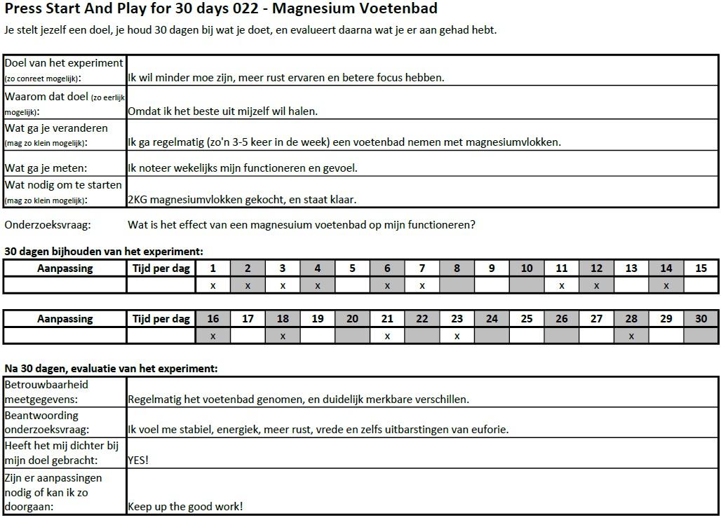PSAP for 30 days 022 - Magnesium Voetenbad EXPERIMENT